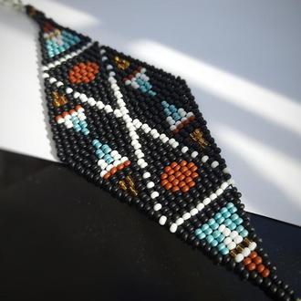 Браслет из бисера, этнический браслет, подарок на 8 марта, черный браслет этно стиль