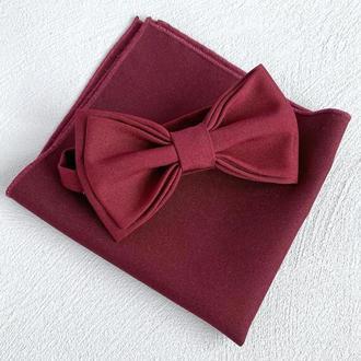 Бордовий метелик та нагрудна хустинка, Аксесуари на весілля, Метелики для дружбі в нареченого