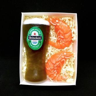 """Сувенирное мыло, набор """"Бокал пива с креветками"""""""