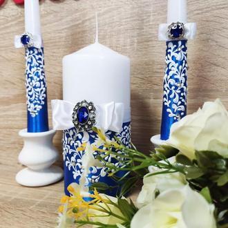 Набор свадебных свечей Je t'aime. Цвет синий.