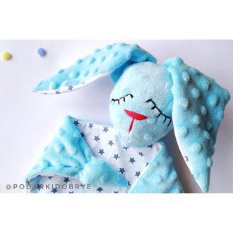 игрушка заяц Сплюшка для самых маленьких, голубая с серыми звездами, ручная работа