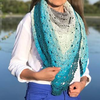 Весенняя вязаная голубая шаль на плечи Бирюзовая летняя ажурная шаль из хлопка большая