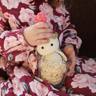 Весенний цветок человечек гианцит мягкая вязанная игрушка весенный декор подарок на 8 марта