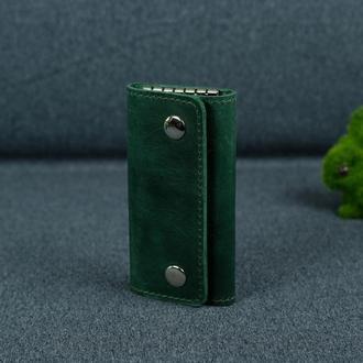 Кожаная ключница на кнопках, винтажная кожа Crazy Horse, цвет зеленый