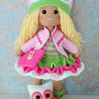 Весенняя кукла в пастельных тонах вязаная крючком. Кукла с совой. Подарок дочке, внучке, племяннице.