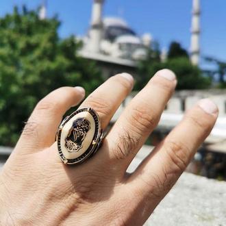 Громадное кольцо на всю фалангу пальца из серебра ручной работы с восточным рисунком под эмалью