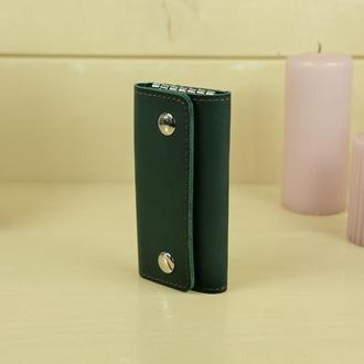 Кожаная ключница на кнопках, кожа итальянский краст, цвет зеленый
