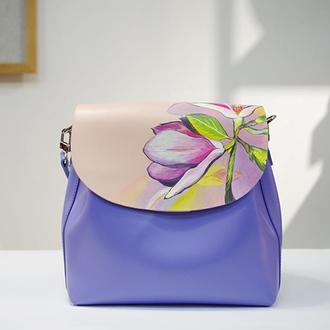 Кожаная сумка с ручной росписью