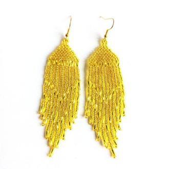 Серьги желтые блестящие Красивые серьги на подарок Серьги ручной работы