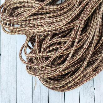 Декоративная лента из шпагата (натуральная), плетение с коричневым, 6мм. 1 м/п