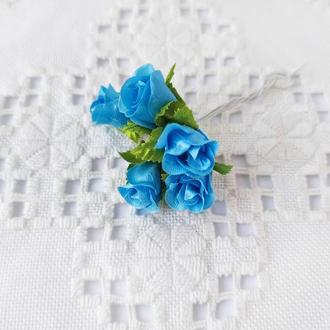 Бутоны роз тканевые мини голубые Ø 15 мм. 5 шт