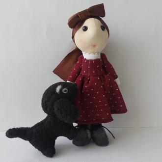 Текстильная интерьерная кукла  Люси и такса Фрося.