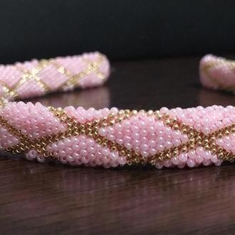 Обруч/ободок розовый с узором из бисера