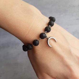 """Женский браслет """"Месяц"""". Стильный браслет из натуральных камней. Браслет с лавой."""