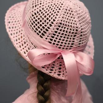 Розовая шляпка для девочки с розовой лентой, панамка