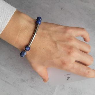 Красивый сине-голубой браслет со стальной вставкой. Браслет с натуральными камнями. Подарок.