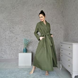 Платье на запах из натурального льна