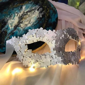 """Оригинальная белая карнавальная маска """"puzzle"""" на хеловин Фотосессии, праздники День влюбленных"""