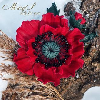 Брошь-мак из красной кожи «MaryS Leather Accessories», под заказ