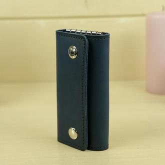 Кожаная ключница на кнопках, кожа итальянский краст, цвет синий