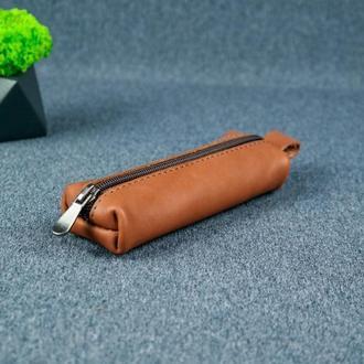Кожаная ключница на молнии, кожа итальянский краст, цвет коричневый