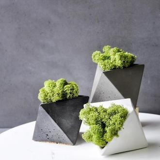"""Кашпо из бетона """"Octos"""" многогранник со мхом (мох ягель, стабилизированный)"""