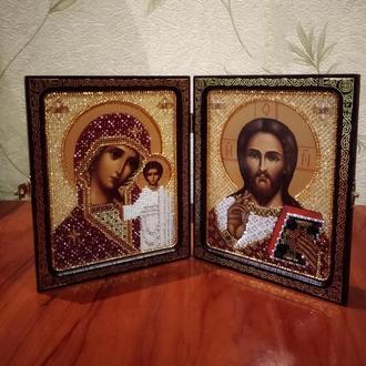 Богородица Казанская и Христос Спаситель (венчальная пара) бисером в рамке