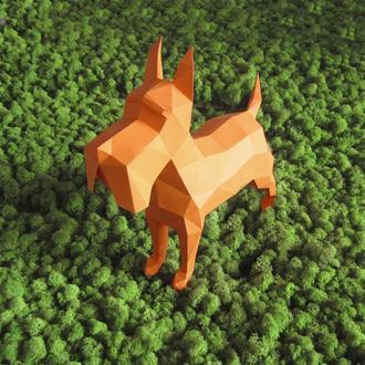 Полигональная скульптура собаки - шотландский терьер