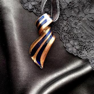 муранское стекло Кулон Мурано подвеска ожерелье Венеция черный амулет этника бохо