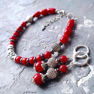 Комплект з натуральних коралів та гематиту браслет і сережки № 305