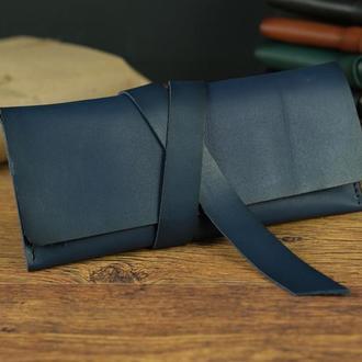Гаманець клатч шкіряний з закруткою Шкіра Італійський краст, колір Синій