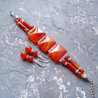 Комплект из натурального сердолика браслет двурядный и серьги