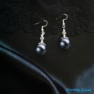 Серьги серебро жемчужные украшения серебряные сережки 925 жемчуг dzvinka guzul подарок люкс тренд