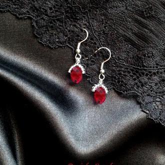 Серебряные сережки Серьги серебро украшение рубин топаз аметист опал сапфир