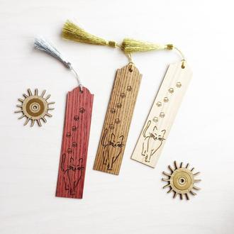 Закладки для книг из дерева  Кот