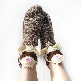 Вязанные носки-хорьки размеры 34-39