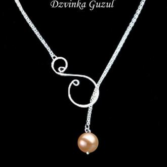 Лариат серебряный кулон ожерелье серебро сотуар жемчуг Akoya Tahiti подарок