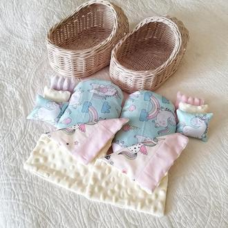 Плетеная люлька с комплектом постелькой для кукол