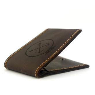 Мужской Кошелёк - тонкий кожаный бумажник для мужчины Slim ( Портмоне, Лопатник, Подарок мужчине )