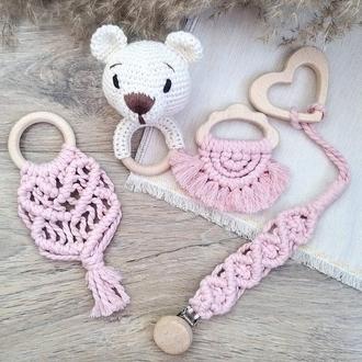 Подарочный набор для малышки Мишка погремушка, грызунок, прорезыватель зубов, соскодпржатель