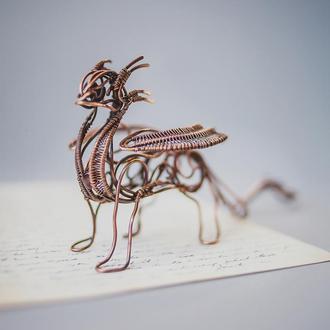 Скульптура Дракон з мідного дроту