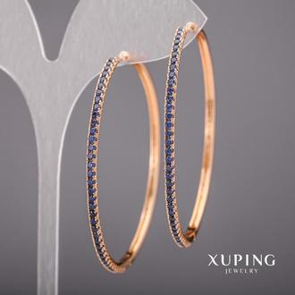 Серьги Xuping Кольца с синими камнями 51мм Позолота 18К Артикул: 36593