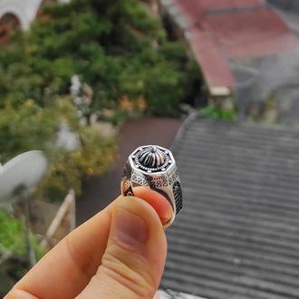 Кольцо мечеть Серебряное Мусульманское из серебра ручной работы с гравировкой