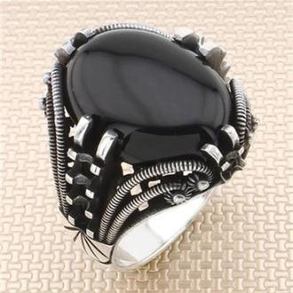 Перстень плетеный из серебра Стимпанк ручной работы мужской серебряный с камнем Оникс