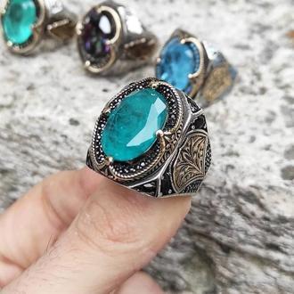 Перстень Бомба с турмалином огромный и внушительный из серебра ручной работы с гравировкой
