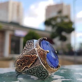 Изысканное четкое брутальное кольцо мужское серебряное ручной работы 925 пробы с турмалином