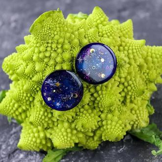 Крупные космические серьги гвоздики