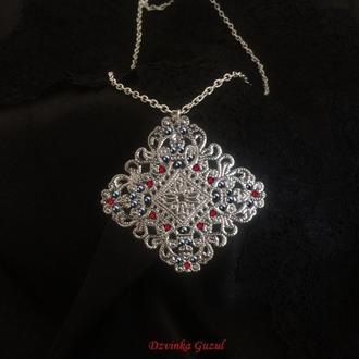 Готика Крест серебряное кулон серебро ожерелье кристал мистика магия бохо амулет талисман
