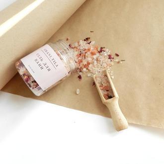 Рожева гімалайська сіль для ванн з пелюстками троянди