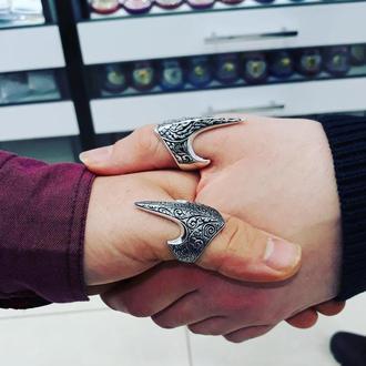 Перстень на большой палец из серебра Кольцо лучника ручной работы Воинственное с гравировкой